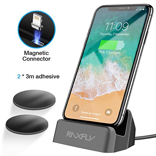 RAXFLY For iPhone Charger Dock, [Removable Magnetic Lightning Connector ] Desktop Charging Stand Station for Apple iPhone SE/5/5S/5C/6/6S/7/8/Plus X/iPod Nano/iPod Touch