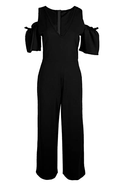 fb6e5ef5a1ee Boohoo Womens Tall Emily Cold Shoulder Culotte Jumpsuit in Black size 10