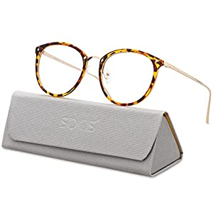 SojoS Round Women Eyeglasses Fashion Eyewear Optical Frame Clear Glasses SJ5969 With Tortoise Frame/Gold Temple