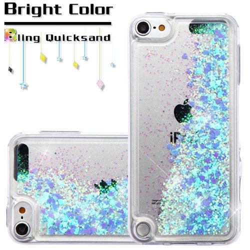 ible For Apple iPod Touch 5 5th Gen/6 6th Gen Case, Kaleidio [Quicksand Glitter] TPU Gel Slim Skin Cover w/Overbrawn Prying Tool [Liquid Hearts & Blue] ()