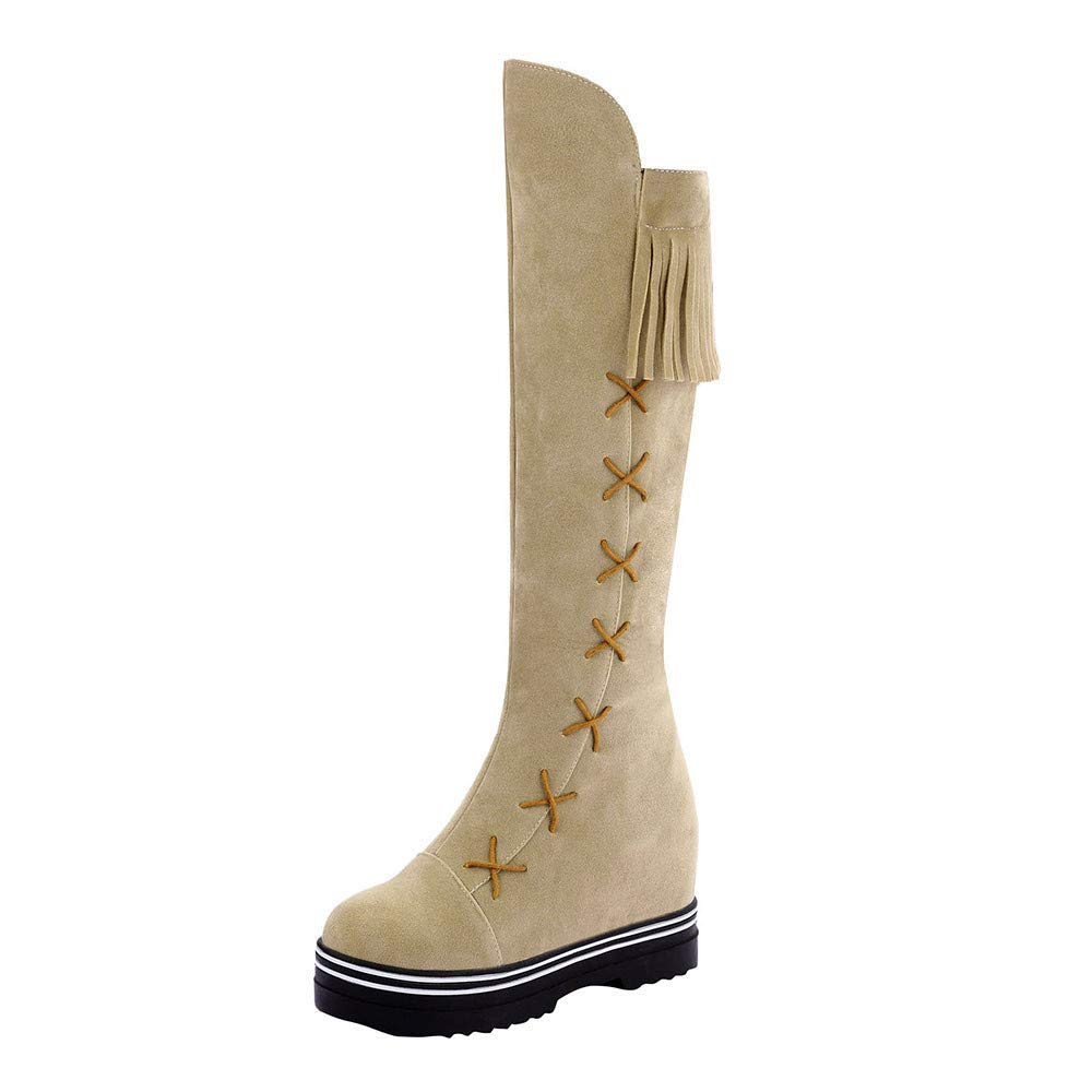 Beige So8ooa Lady Boots Women Leisure Round Toe Tassel shoes Platform Zipper Peeling Long Tube Martin Boots Fashion Cosy Wild Casual Quality Super Elegant for Womens