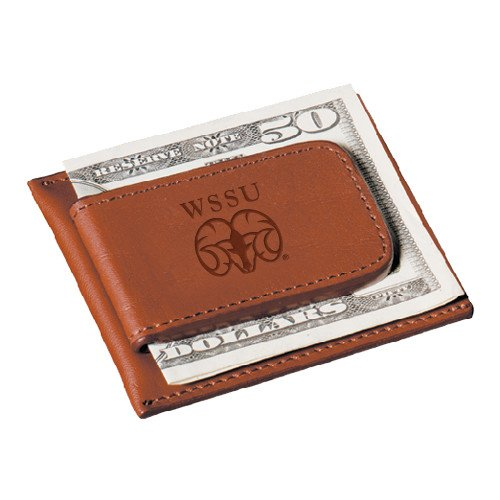 CollegeFanGear Winston Salem Cutter & Buck Chestnut Money Clip Card Case 'WSSU Ram Engraved' by CollegeFanGear