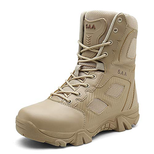 (Fuaojia Men Combat Boots Waterproof Leather Tactical Sport Side-Zip Military Boot (US 11/275mm, Yellow))
