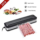 Vacuum Sealer Machine, Ymiko Upgraded Portable Compact Vacuum Sealer with Automatic Vacuum Sealing System for Dry Food Storage Preservation and Sous Vide Cooking, Bag Cutter, 15 Bags, Black