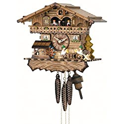 German Cuckoo Clock 1-day-movement Chalet-Style 12.00 inch - Authentic black forest cuckoo clock by Hekas