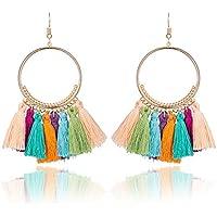 ERAWAN Vintage Women Bohemian Earrings Long Tassel Fringe Boho Dangle Earrings Jewelry EW sakcharn (Colorful)