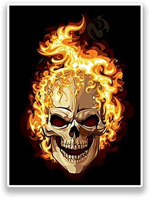 2 x Pegatinas de vinilo de calavera en llamas Horror Scary # 7179 ...