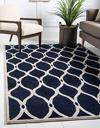 Unique Loom Trellis Collection Geometric Modern Navy Blue Ivory Area Rug 5 0 x 8 0