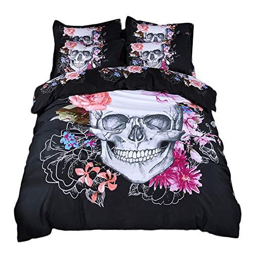 (alibalala Skull Bedding Set Twin 3D Floral White Skull Printed Duvet Cover for Kids Teens Adults Lightweight Skull Skeleton Pattern Comforter Cover (2Pcs, Black))