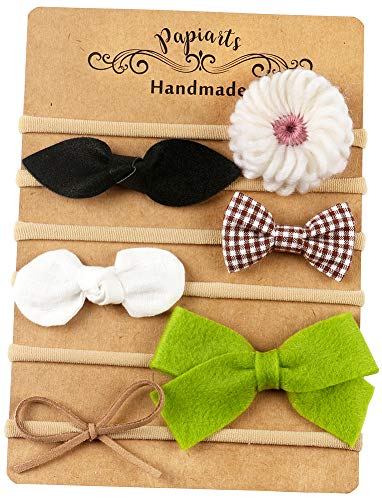 Nylon Baby Hair Bows, Baby Girl Headbands Set, Assorted 6 Packs of Hair Accessories for Newborn Toddler Girls