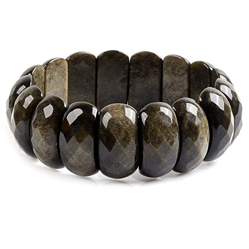 Natural Golden Obsidian Gemstone 25mm Oval Faceted Beads Wide Stretch Bracelet 7
