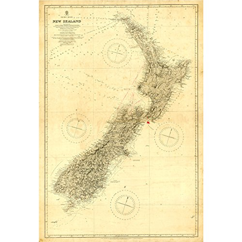 Meishe Art Vintage New Zealand Nautical Map Old Chart Home Wall Picture Art Decor (Framed Map Of New Zealand)