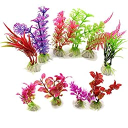 VORCOOL 10 pcs Artificial Aquarium Fish Tank Water Plant Plastic Decoration Ornament (Random Color)