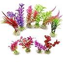 VORCOOL 10 pcs Artificial Aquarium Fish Tank Water Plant Plastic Decoration Ornament (Random Color)