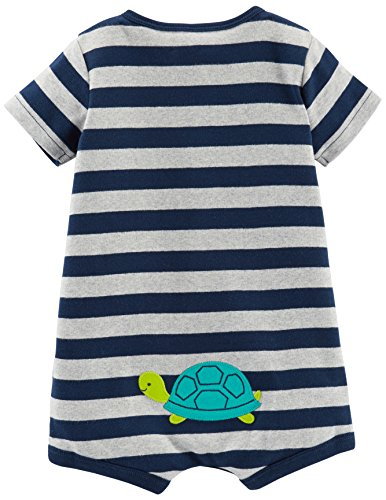Simple Joys by Carter's Boys' 3-Pack Snap-up Rompers, Red Stripe/White Sailboats/Navy Stripe, 6-9 Months