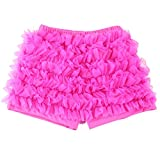 Wennikids Baby Girl Kids Chiffon Ruffle Shorts Petti Short Pants 1-9t in Various Colors (8-9T, Dark Pink)
