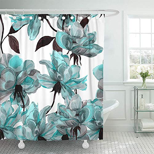 """Emvency 72""""x72"""" Shower Curtain Waterproof Blue Flower Floral Pattern with Roses Watercolor Colorful Abstract Arrangement Black Home Decor Polyester Fabric Adjustable Hook Set"""
