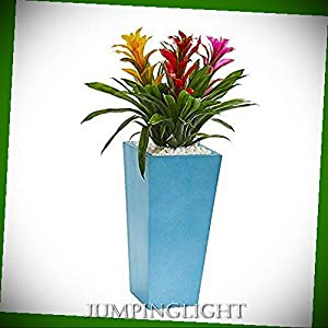 JumpingLight Triple Bromeliad in Turquoise Tower Vase, 26'', Multi Artificial Flowers Wedding Party Centerpieces Arrangements Bouquets Supplies 47