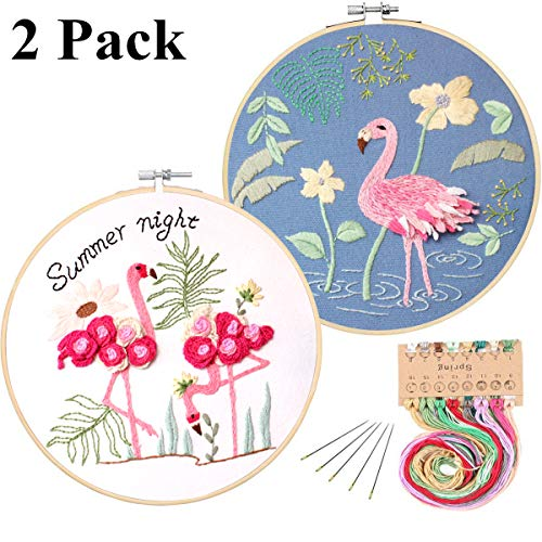 2 Pack Full Range of Stamped Embroidery Starter Kit with Pattern and Instructions, Including Embroidery Cloth with Pattern,Plastic Embroidery Kits (Flamingo)