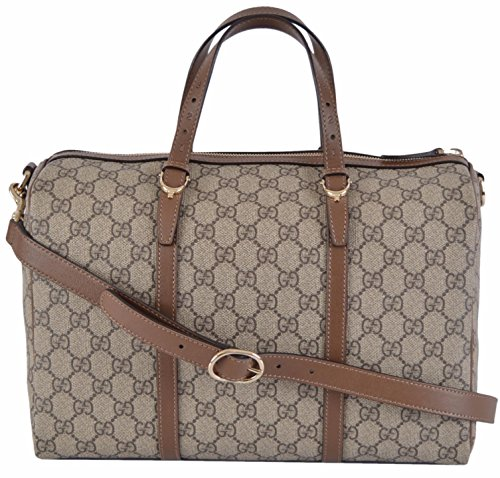 Gucci-Womens-Brown-GG-Supreme-Canvas-Boston-Purse-Satchel-WStrap