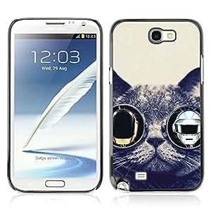 CASETOPIA / Daft Punk Cat / Samsung Note 2 N7100 / Prima Delgada SLIM Casa Carcasa Funda Case Bandera Cover Armor Shell PC / Aliminium