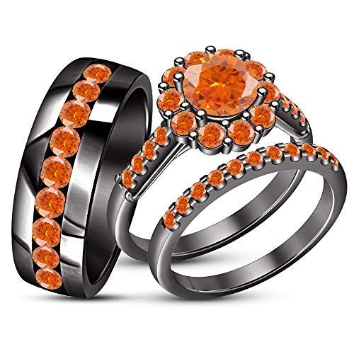 TVS-JEWELS Matching Band Women Black Gold Plated 925 Sterling Silver Engagement Wedding Sets (Orange Sapphire) -