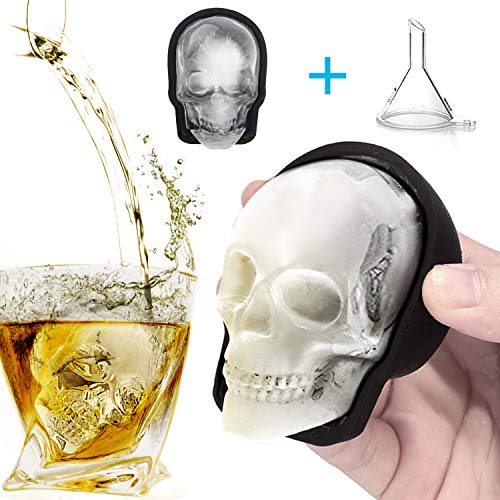Large 3D Skull Ice Mold, Large Silicone Skull Ice Cube Tray of 400ml Capacity, Durable Black Skull Ice Maker with Funnel for Whiskey, Bourbon, Cocktails, Beer, Perfect for Parties (1pcs)]()