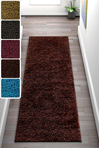 (Well Woven Soft and Fluffy Non-Skid/Slip Rubber Back Antibacterial Shag Rug 2x7 (2' x 7'3 Runner) Solid Color Print Chocolate Brown Area Rug Carpet)