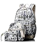 Leaper Cute Owl Pattern School Backpack Set Bookbag Shoulder Bag Pencil Bag 3PCS Black