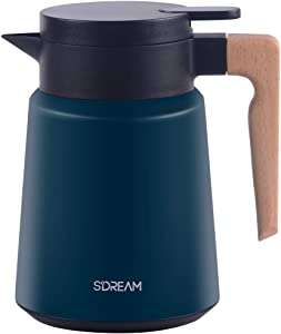 SDREAM Coffee Carafe Stainless Steel,Heavy Duty Thermal Carafe,Double Walled Insulated Vacuum Flask,12 - Hour Heat Retention, 34 Oz Beverage Dispenser with Lid and Handle, Green