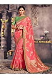 Da Facioun Indian Sarees For Women Designer Wedding Partywear Orange Color In Pink Cotton Silk