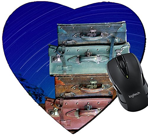 Price comparison product image MSD Mousepad Heart Shaped Mouse Pads/Mat design 19405933 Vintage travel bag on wooden tabel with star tails in night sky background Travel