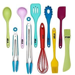Hullr 10 piece silicone kitchen utensils for Naaptol kitchen set 70 pieces