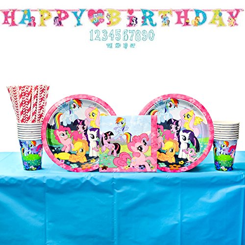 My Little Pony Party Supplies Pack: Straws, Dinner Plates, Luncheon Napkins, Cups, Table Cover, and Banner (Bundle for 16 Guests)