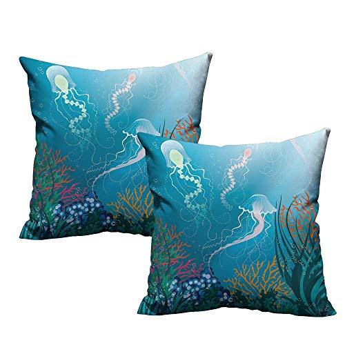 Aquarium Square Lumbar Cushion Cover Artistic Jellyfishes Swimming Under The Sea Coral Reef Plants Oceanic Fauna Velvet Soft Soild Decorative 14