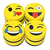 Eraser Whiteboard Magnetic Smiley Face Circular 2'' Eraser - Teaching Supplies Prime Dry Erase Accessories Felt Dry Eraser (Yellow)