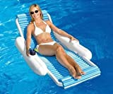 Swim Central 52'' Blue and White Eva Sunchaser Swimming Pool Floating Lounge Chair