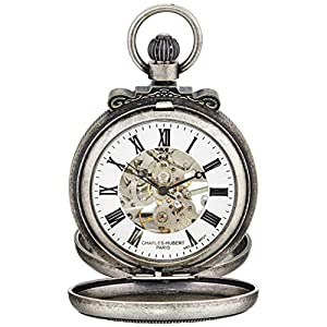 Charles-Hubert, Paris 3867-S Classic Collection Antiqued Finish Double Hunter Case Mechanical Pocket Watch
