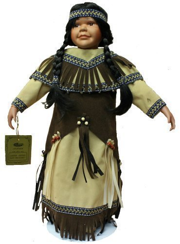 Native American Porcelain Doll 22 Inches with Braids, Traditional Brown and Beige Felt Dress with Beading and Headdress