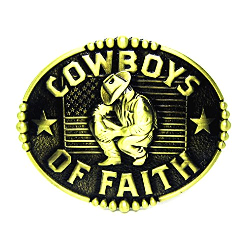 MASOP Oval Western Cowboys of Faith American Flag Belt Buckle Unique Mens Gifts