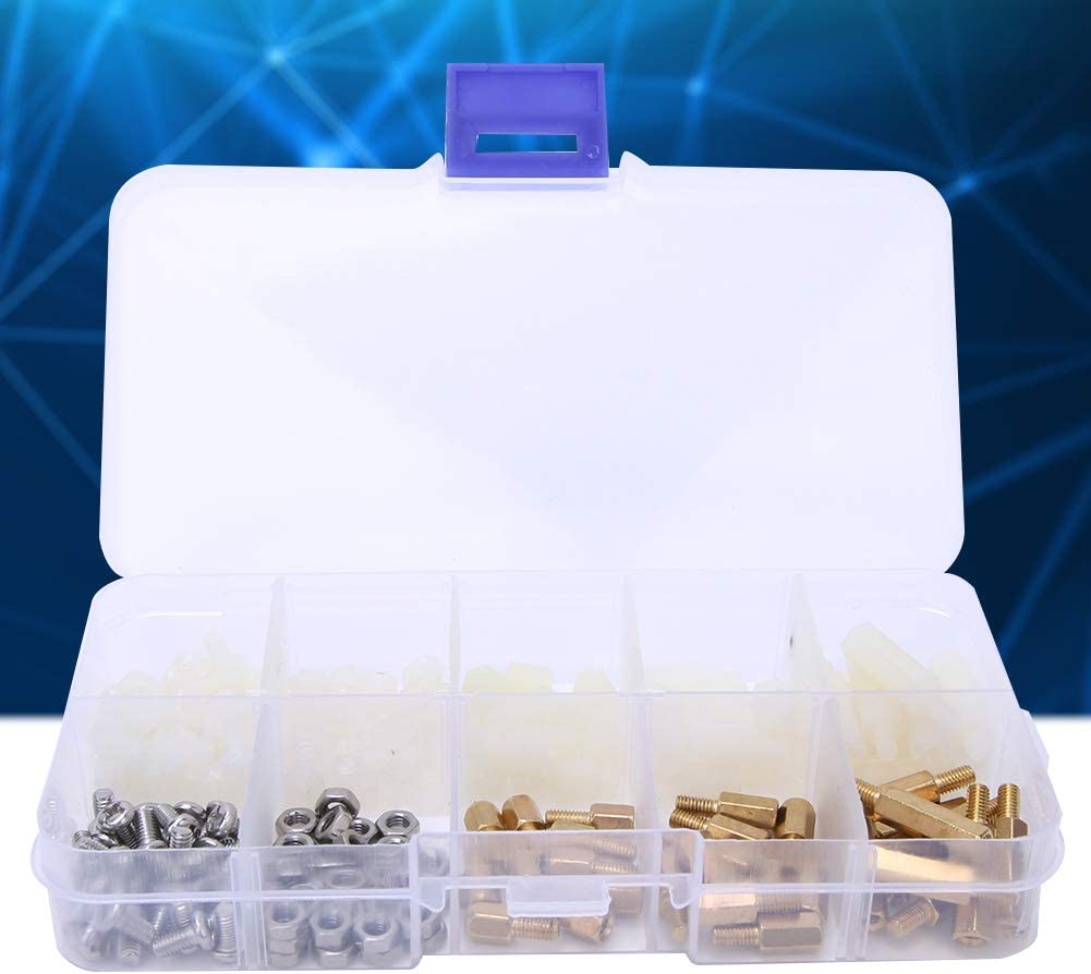 Nylon Standoff Brass 180Pcs for Mechanics Industrial Household DIY Stainless Steel Hex Nut Fasteners Hex Nut