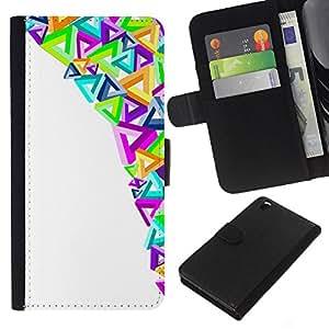 WINCASE Cuadro Funda Voltear Cuero Ranura Tarjetas TPU Carcasas Protectora Cover Case Para HTC DESIRE 816 - triángulos de arte moderno colorido púrpura