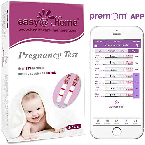 Easy@Home Early Pregnancy Urine Test Strips Kit, FSA Eligible, Powered by Premom Ovulation Predictor iOS and Android APP, 10 Tests