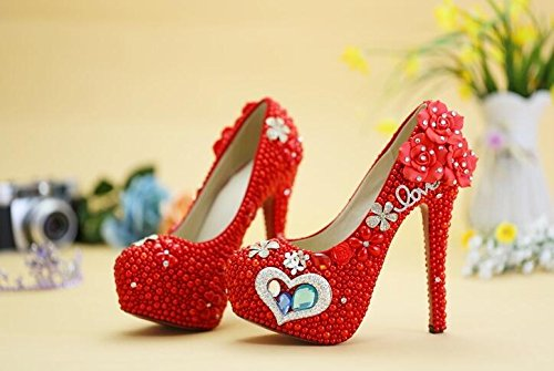 Wedding Photo Shoes Prom Wedding VIVIOO Wedding 14Cm Heel 8 Heels Shoes Sandals Banquet High Studio Crystal Bride Ceremony Pink Princess Performance Pearl ZqUwdaxq