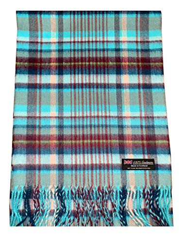 Scotland Wool - 2 PLY 100% Cashmere Scarf Elegant Collection Made in Scotland Wool Solid Plaid Men Women (Blue Pink Burgundy)