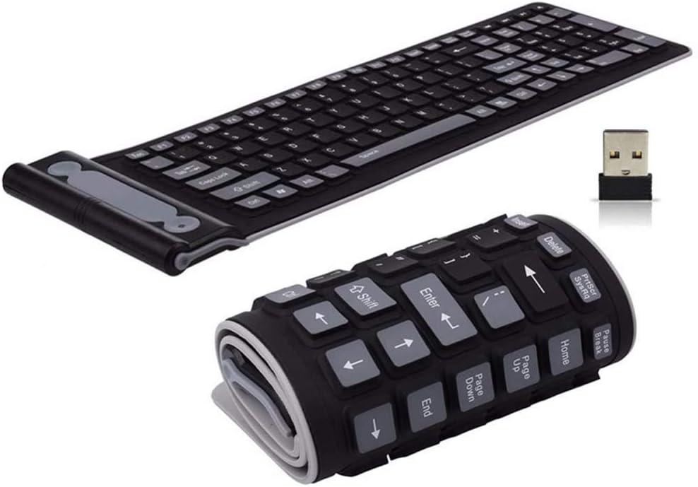 Onlywe 2.4G Wireless Keyboard Waterproof Folding Silicone107-Key Mute Gaming Keyboard with USB Receiver for Notebook Desktop Laptops PC
