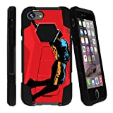 Shockproof iPhone 7 Phone Case | iPhone 7s Kickstand Case [Shock Fusion] Dual-Layer Hard Shell Case with Kickstand for iPhone 7 | iPhone 7s by MINITURTLE - Red Basketball