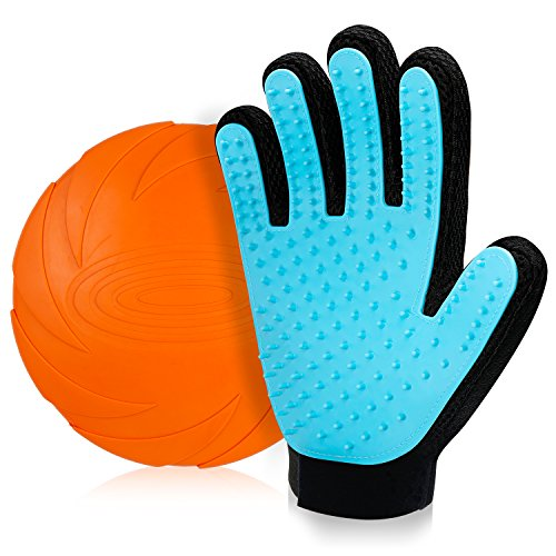 MYCARBON Pet Grooming Glove for Cats and Dogs,Easy to Peel Pet Hair Remover,Safe Material Cat Brush with Five Finger Design Massage Tool,No damage to Skin Pet Brush Glove for Long Short Hair-Blue