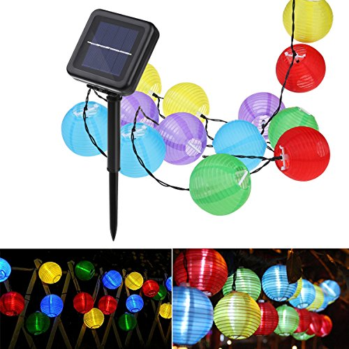 Lantern Solar String Lights, YUNLIGHTS 21.3feet 30 LED 8 Modes Waterproof Outdoor Solar Powered String Lights for Garden, Patio, Lawn, Home, Party and Xmas Decorations, Multi Color