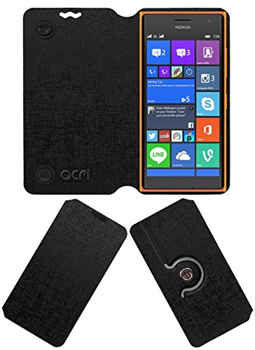 Acm Designer Rotating Flip Flap Case Compatible with Nokia Lumia 730 Mobile Stand Cover Black